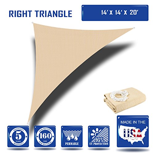 Sunshades Depot14' x 14' x 19.8'Sun Shade Sail Right Triangle Permeable Canopy Tan Beige Custom Size Available Commercial Standard (Sun Shade Sail 14 compare prices)