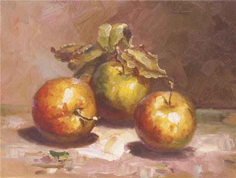 Oil Painting 'Three Apples', 18 x 24 inch / 46 x 60 cm , on High Definition HD canvas prints is for Gifts And Bed Room, Dining Room And Home Office Decoration, art print