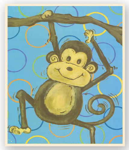 The Kids Room by Stupell Lil Buddy Monkey on Blue with Circles Rectangle Wall Plaque