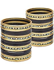 Touch Of The Tribe Bangle Set- Black Lacquer Wedding Bangles For Women
