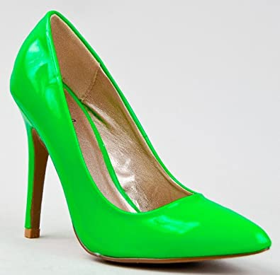 Qupid POTION-01 Neon Pointed Toe High Heel Slip On Pump