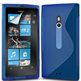 (Blue) Nokia Lumia 800 Protective S Line Wave Gel Case Cover Skin & LCD Screen Protector Guard By Spyrox
