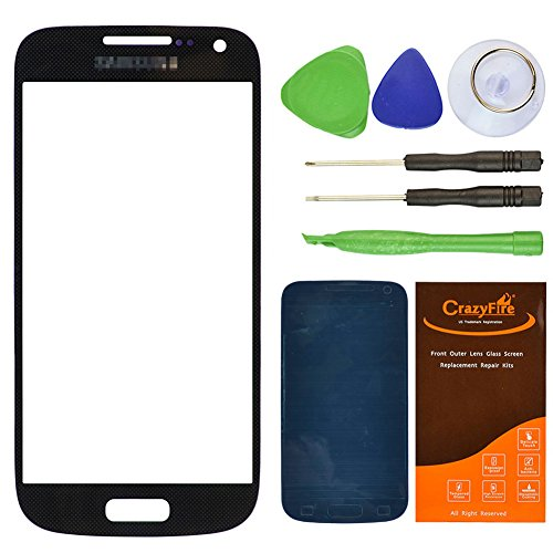 CrazyFire® Black Replacement Lens Glass Screen For Samsung Galaxy S4 Mini I9190 I257 L520 I435 R890 with Tools Kit and Adhesive Tape (Samsung Galaxy S4 Mini Kit compare prices)