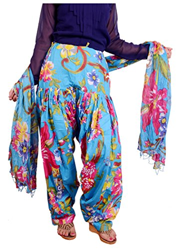 Bottomline Women Printed Solid Cotton Full Sky Blue Patiala Salwar Dupatta Set(Free Size,Multi Color)