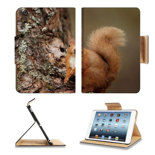Squirrel Wood Bark Look Animal Apple Ipad Mini Flip Case Stand Smart Magnetic Cover Open Ports Customized Made To Order Support Ready Premium Deluxe Pu Leather 8 Inch (205Mm) X 5 1/2 Inch (140Mm) X 11/16 Inch (17Mm) Liil Ipad Mini Professional Ipadmini Ca