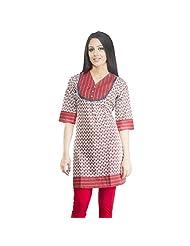 Rama Cotton White Printed Women's Straight Kurta (14RAMA1421001)