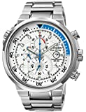 Citizen Endeavor Men's Quartz Watch with White Dial Chronograph Display and Silver Stainless Steel Bracelet CA0440-51A