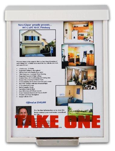 White Snap Shut Brochure Box Brochure Holder Flyer Box Outdoor Realtor Style Info Box Realtor Supplies Real Estate Marketing (Amazon Prime Info compare prices)