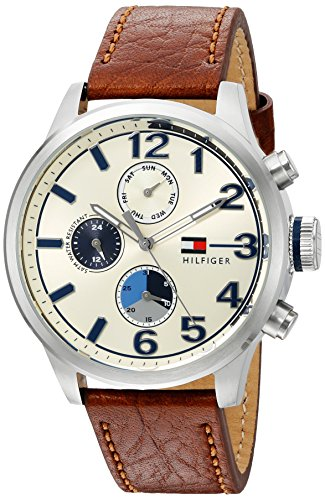 Tommy-Hilfiger-Mens-Quartz-Stainless-Steel-and-Leather-Casual-Watch-ColorBrown-Model-1791239