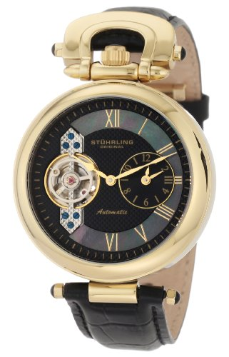 Stuhrling Original Men's 127.33351 Special Reserve Emperor Automatic Skeleton Dual Time Zone Gold Tone Watch