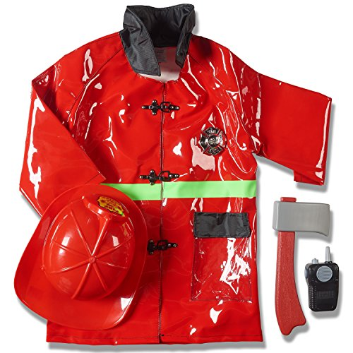 Child's Halloween Fireman Role Play Dress up Costume Set and Accessories