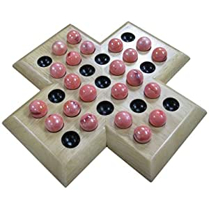 Amazon.com: Shawna Wood Cross Solitaire Board Game with Red Marble