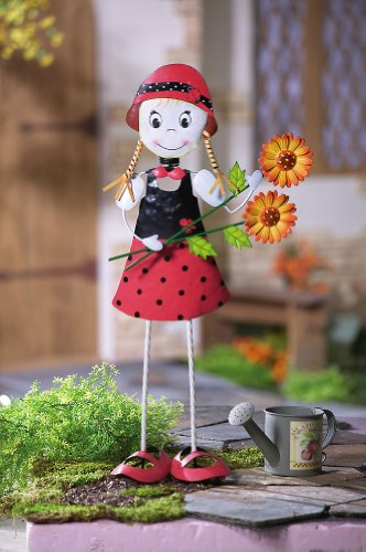 Ladybug Dress Girl Outdoor Metal Garden Stake by Collections Etc