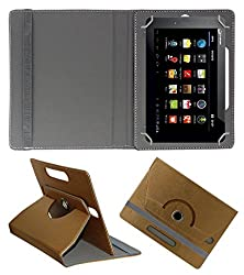 Acm Designer Rotating 360° Leather Flip Case For Micromax Funbook Talk P360 Tablet Stand Premium Cover Golden