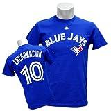 Majestic(マジェスティック) MLB ブルージェイズ #10 エドウィン・エンカーナシオン Player Tシャツ (ブルー)