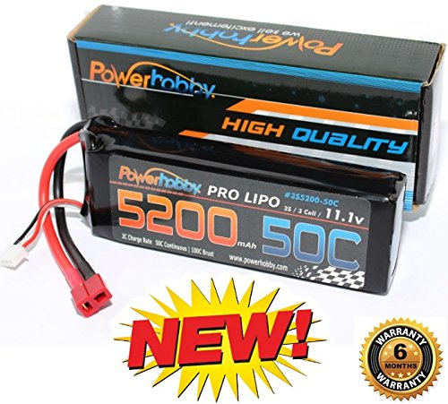 PowerHobby 3S 11.1V 5200mAh 50C Lipo Battery Pack w Deans Plug 3-Cell Fits : Assocated Hpi Savage Vorza E10 Rs4 Blitz Arrma Kraton Typhon Duratrax (3 Cell Lipo Battery Deans Plug compare prices)