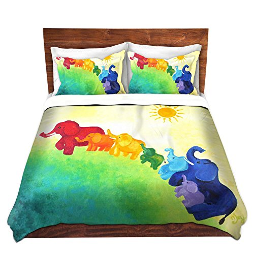 Duvet Cover Brushed Twill Toddler from DiaNoche Designs Unique Home Decor and Designer Bedding Ideas by nJoyArt - Elephant Rainbow