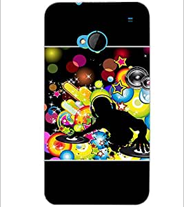 PrintDhaba DJ D-1421 Back Case Cover for HTC ONE M7 (Multi-Coloured)