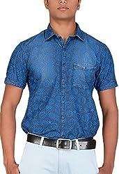 Botticelli Men's Denim Half Sleeve Shirt (3591-HALF-C-M_Denim_Medium)