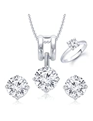 Meenaz Pendant Jewellery Set Combo Silver Plated Cz In American Diamond For Girls & Women Com239