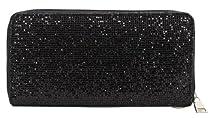 Glitter Zip Around Wallet Wristlet (Black)