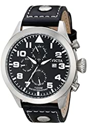 Invicta Men's 0350 II Collection Black Leather Watch