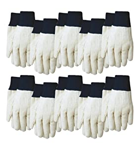 Midwest Gloves and Gear 7780P10-L-AZ-6 Cotton Canvas Work Glove, Large, White with Blue Cuff, 10-Pack