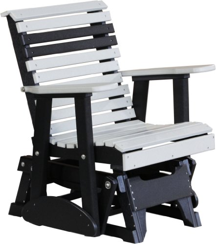 Outdoor Polywood 2 Foot Porch Glider - Plain Rollback Design *Blue/Black* Color front-916656