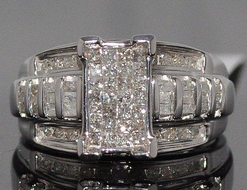 Diamond-Ladies-Ring-Princess-cut-Wedding-Engagement-ring-1ct-Sterling-Silver-White-gold-Finish