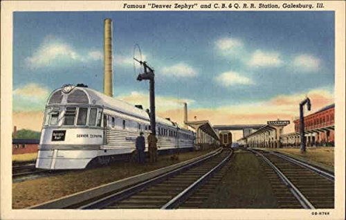 A Denver Zephyr Stops at the C.B. & Q. Railroad Station in Galesburg, Illinois