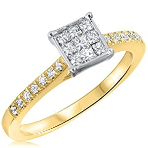 3/8 CT. T.W. Diamond Ladies Engagement Ring 10K Yellow Gold- Size 6.75