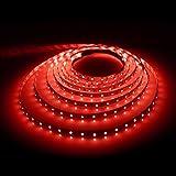 LE 16.4ft Flexible LED Strip Lights, 300 Units SMD 3528 LEDs, Red, Non-waterproof, 12V, LED Tape, LED Ribbon, DIY Indoor Party Christmas Holiday Celebration Home Kitchen Car Bar Decoration
