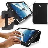 LuvTab ® Samsung Galaxy Note 8.0 (tablet de 8.0 pulgadas) Funda multifuncional con monedero angular / soporte para mantenerse en pie / se dobla / con bolígrafo Stylus / Sleep Wake Sensor - Negro