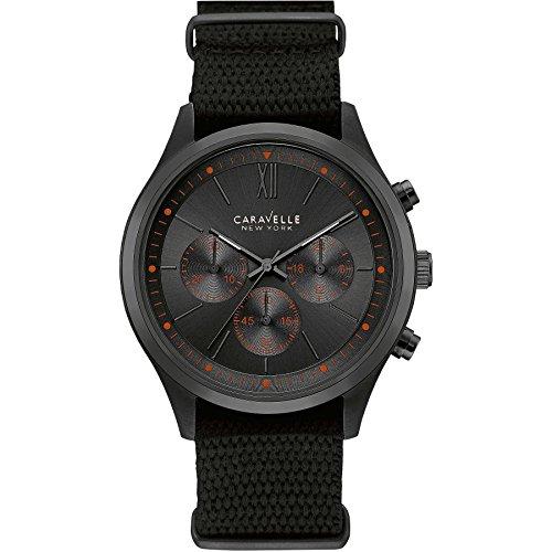 Caravelle New York Men's Quartz Watch with Chronograph Quartz Nylon 45A130