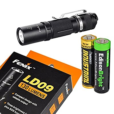 Fenix LD09 2015 version 220 Lumen LED Tactical Flashlight with EdisonBright AA Alkaline battery by EdisonBright