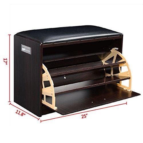 Wood Shoe Storage Bench Ottoman Cabinet Closet Shelf Entryway Multipurpose New (Decorative Shelf Expresso compare prices)