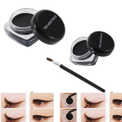 YKS Black Professional Waterproof Long Lasting Eye Liner Eyeliner Eye Shadow Curd Gel Makeup Cosmetic Pro + Brush