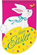 Cottontail Easter Bunny Applique Sculpted Garden Flag