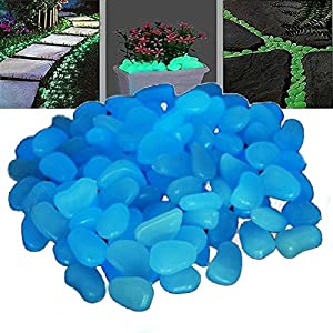Uhome 200 pcs Man-made Glow in the Dark Pebbles Stone for Garden Walkway Sky Blue--Making Your Garden or Yard Looks Different from Your Neighbors' at night