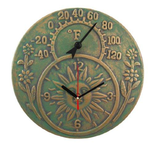 Verdigris Finish Terracotta Sun Face Clock / Thermometer