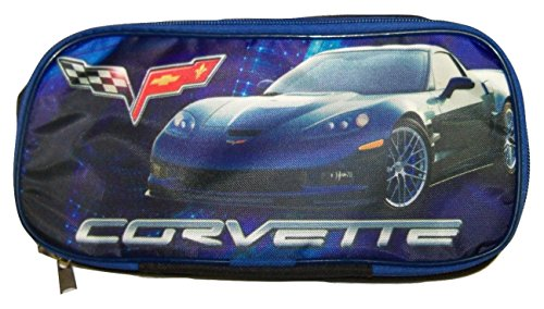 "Chevrolet Supercharged ZR1 Corvette Double Pocket Pencil Case (Blue; 9.75"" x 5"" x 3.25"") - 1"