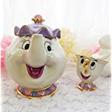 | Coffeeware Sets | Hot Sale Cartoon Beauty And The Beast Old style Teapot Mug Mrs Potts Chip Tea Pot Cup One Set nice gift for friend | by AQANATURE