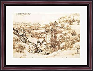 Arno Landscape, 5th August, 1473 by Leonardo Da Vinci Framed Art Print Wall Picture, Cherry Frame with Hanging Cleat, 30 x 22 inches