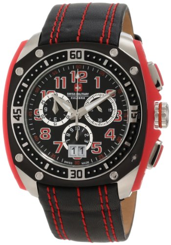 Swiss Military Calibre Men'S 06-4F1-04-004 Flames Red & Black Chronograph Leather Watch