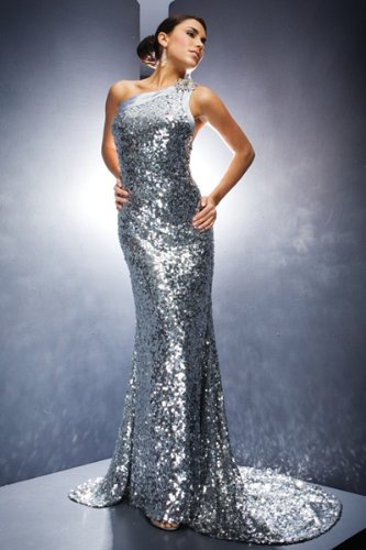 Silver Sequined Dresses by Tony Bowls Evenings