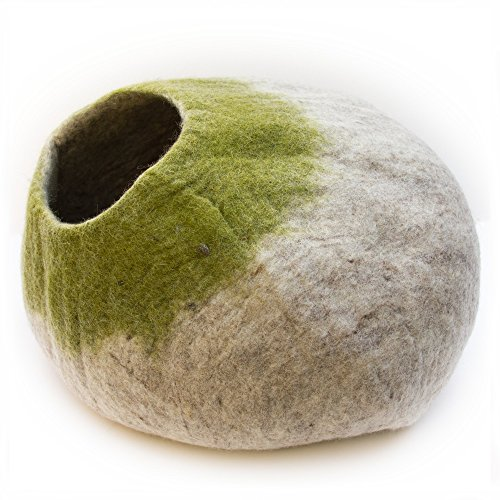 Kittycentric Cozy Cat Cave Bed - Handmade 100% Wool, Large (Light