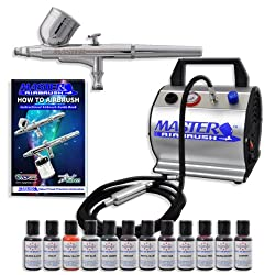 Master Airbrush Cake Decorating Airbrush Kit, with 12 .7 Oz Food Colors & Airbrush Depot 1 Year Warranty Air Compressor and 6 Foot Air Hose Set