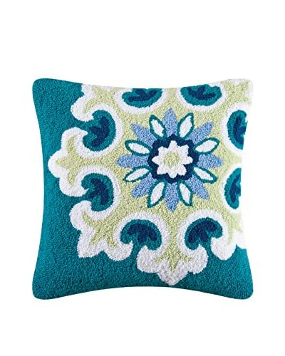 Alena Hooked Throw Pillow, Blue Multi