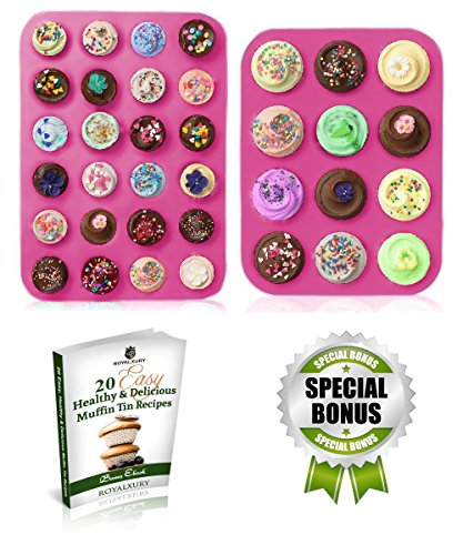 Muffin Pan - Muffin Tin - Silicone Mold Cupcake Pan - Large Muffin Top Pan 12 cups - Mini Muffin Pan 24 cup - Baking Pans - Non Stick Bakeware Molds - Mini Cheesecake Pie Muffins Cupcakes Tins (Disposable Chicken Pot Pie Pans compare prices)