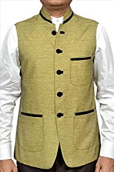 Adam In Style Mehndi Poly Cotton Jacket For Men (Size: 44)